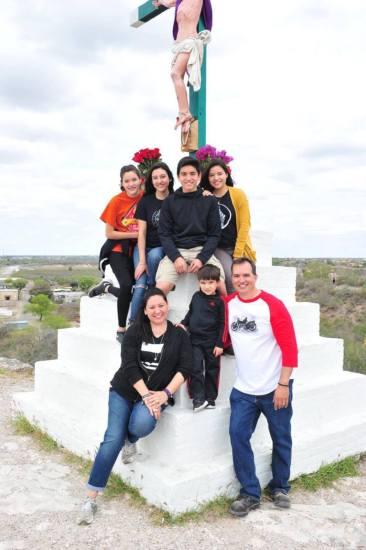 Lia, Loretta, Diego and Rebecca (back), and Mari, Cruz and Cecilio Rodriguez (front) on Feb. 23, 2017 at the cross Cecilio's great-great grandfather erected.
