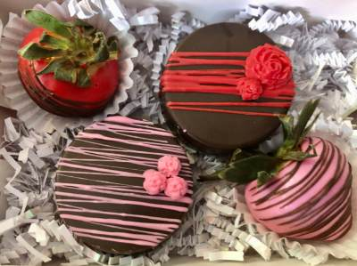 Chocolate-covered strawberries and Oreos are among the featured treats.