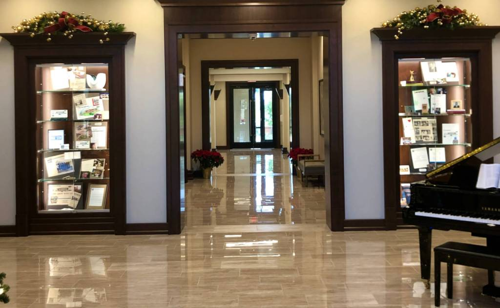 The stylish lobby of the new Rio Bank corporate headquarters in McAllen.