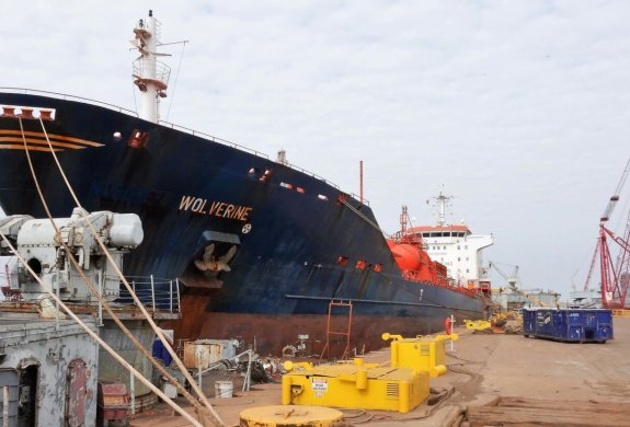 The MT Wolverine safely moored at International Shipbreaking's yard at the Port of Brownsville. (photo Port of Brownsville)