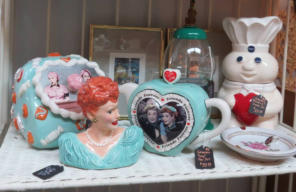 Treasures finds at From The Attic & Co. include I Love Lucy memorabilia, a Pillsbury Doughboy cookie jar and a vintage gumball machine.