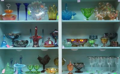 Carnival glass and other classic tableware are among the sought-after pieces at Treasures From The Attic & Co.