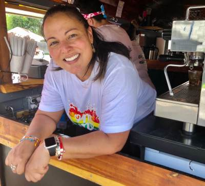 Stephanie Brantley is all smiles after setting up her mobile coffee bar in McAllen.