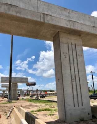 Concrete Ts signify a new north/south span of the Pharr Interchange.