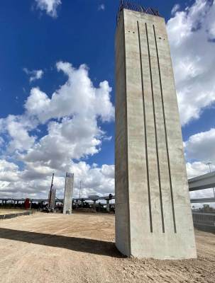 Concrete pillars looking east as Pharr Interchange project takes form. (Courtesy)