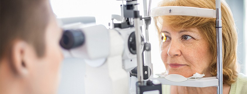 Woman being tested for diabetic retinopathy