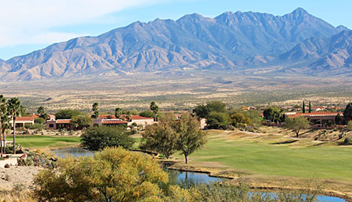 Round 2 Saturday: Just 20 minutes south of Tucson, the par 72 San Ignacio Golf Course, built in 1989 offers yardages from 5,200 to 6,718. This is a desert target course at its best, offering tight fairways, hilly terrain, smooth greens, multiple tee positions, lots of character and spectacular mountain views. The signature 13th hole is a dogleg 522-yard par 5 with elevated tees and a lake along the left side. The club is at 3,000 feet elevation, which offers milder temperatures than do other Tucson-area courses.