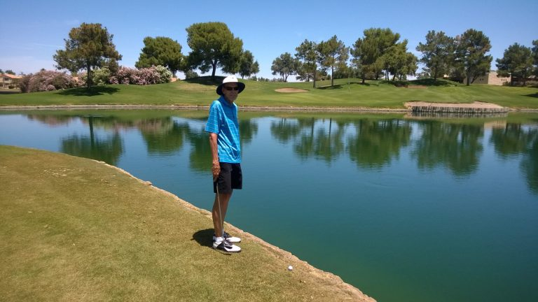 Neal was try to lay up to get over the pond in front of #9 on the White course at Ocotillo. Little close Neal.