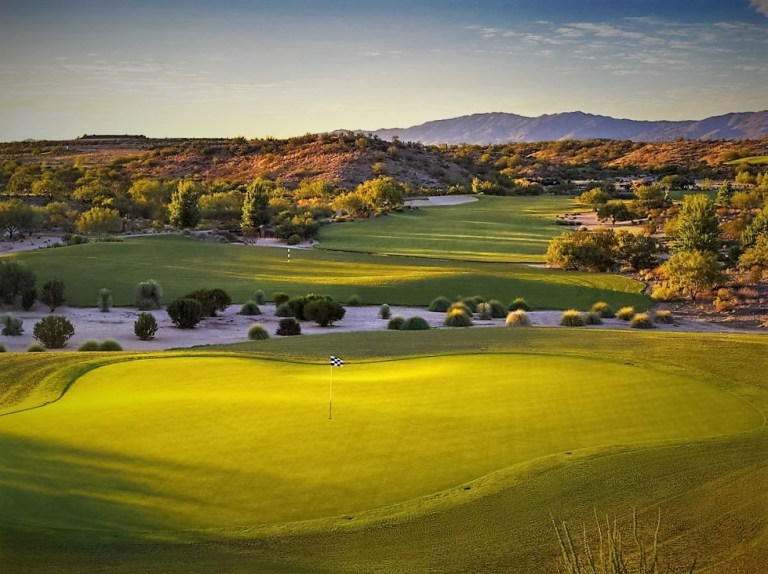 In early February of 2015, Wickenburg Ranch Golf & Social Club made its debut, and for a course built in the heart of some of Arizona's dramatic Sonoran Desert terrain, it has made quite a splash. Facilities include our spectacular 18-hole championship course crafted among the rolling hills just north of Wickenburg, along with an interim club facility with a golf shop, a small neighborhood market, and a patio where you can enjoy a cold drink before or after your round amidst the unmatched beauty of the surrounding high desert landscape.