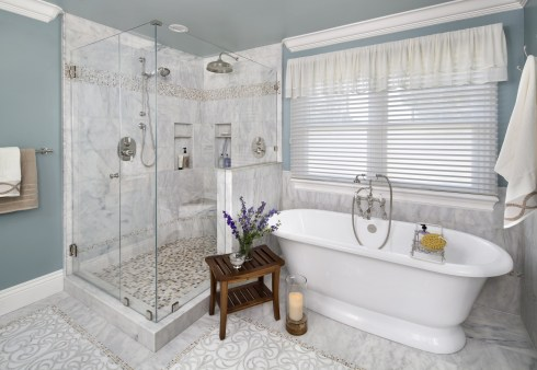 the glass-enclosed shower and freestanding tub.