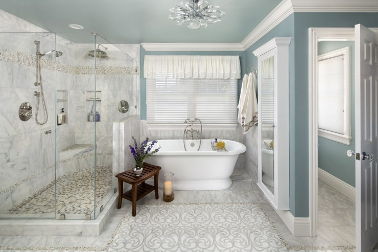 the open shower and freestanding tub for the master bathroom remodel by Valley Home Builders, picture