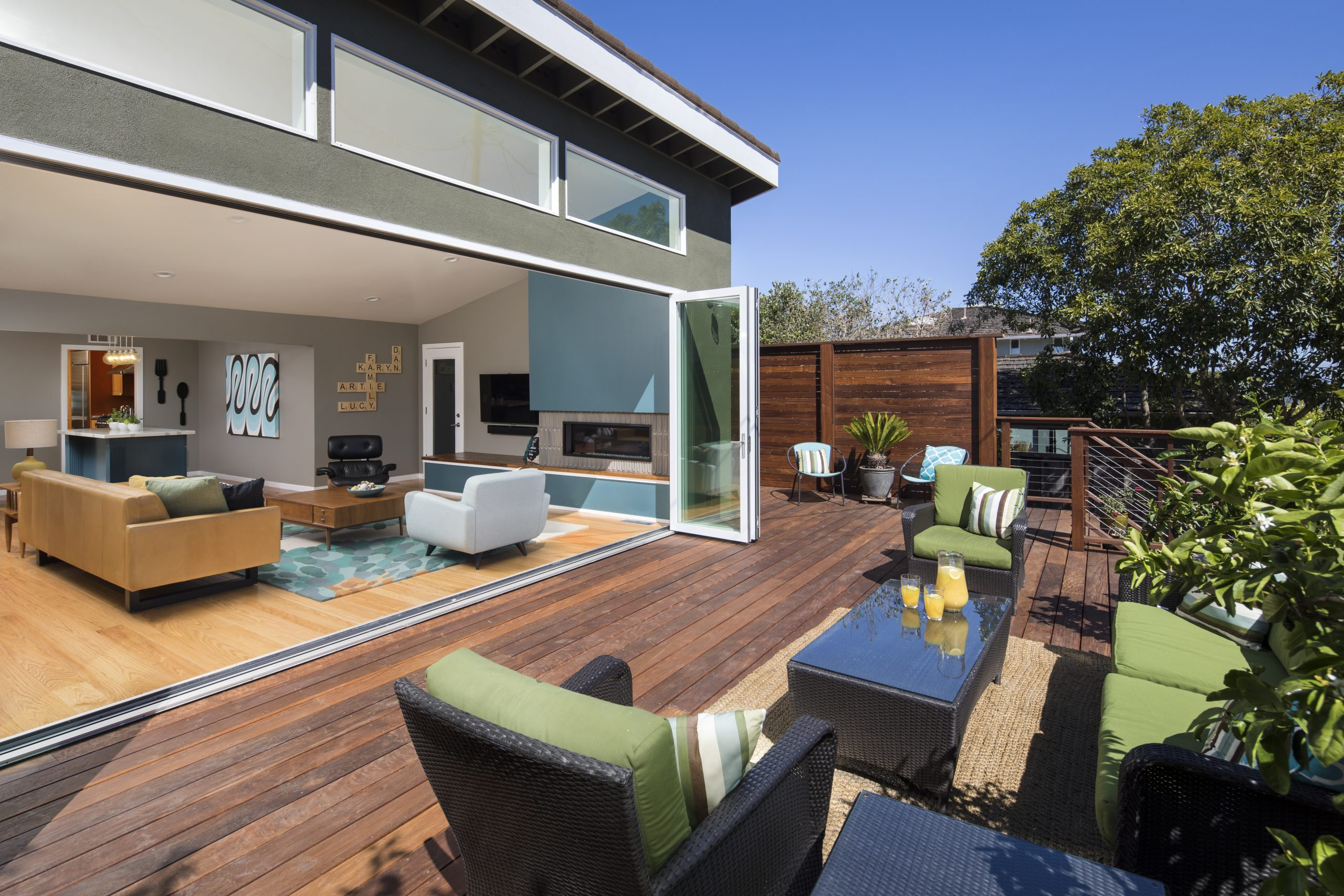 A backyard deck in Los Altos on a sunny day