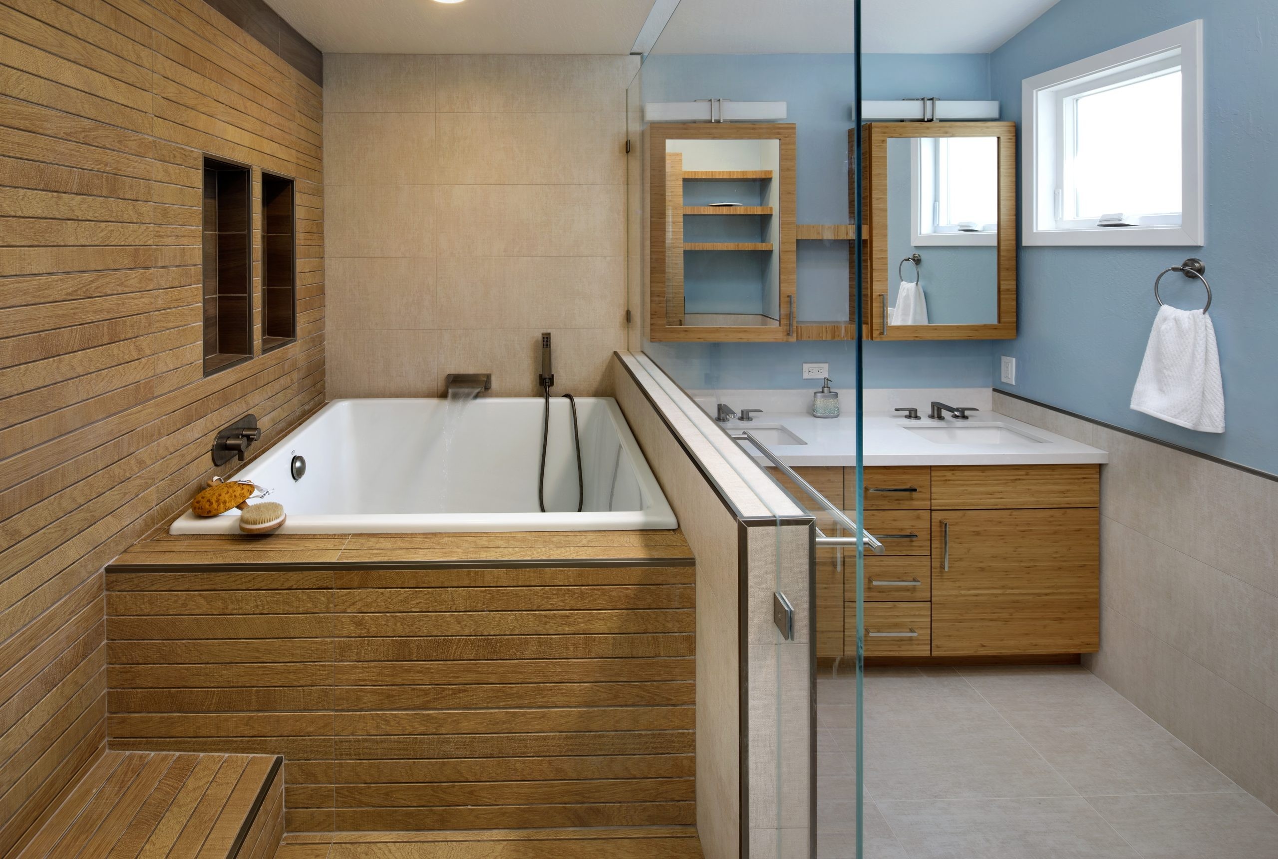 A Japanese bathroom renovation with an ofuro style bath tub.