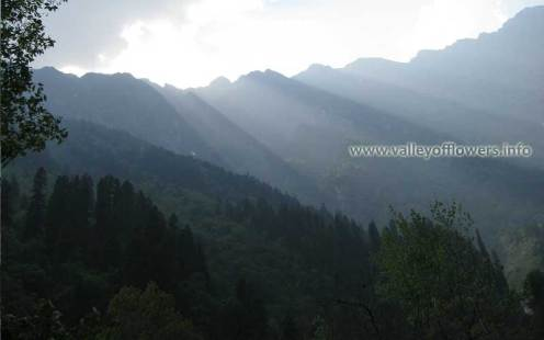 View of Sunset near to Ghangaria while trekking from Govindghat to Ghangaria.