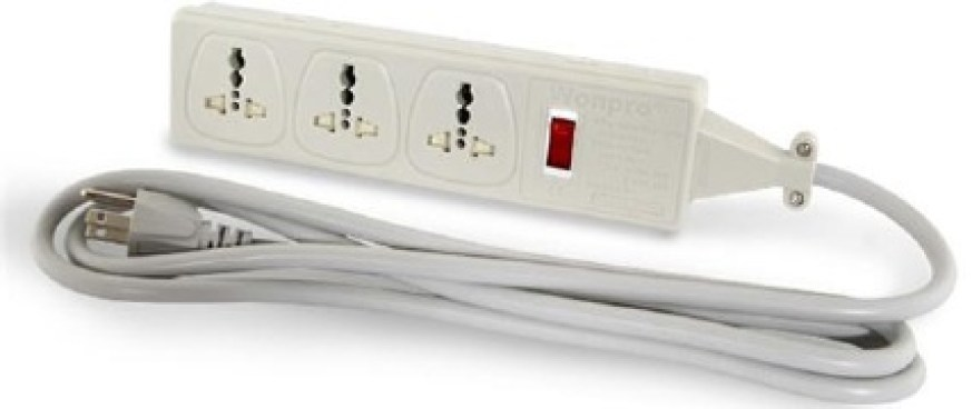Multi-plug extension box, to be used to recharge camera batteries at Ghangaria.