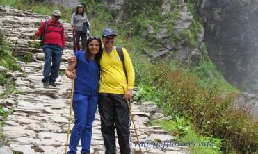 A beautiful couple from our group in 2014, this is start of the trek.