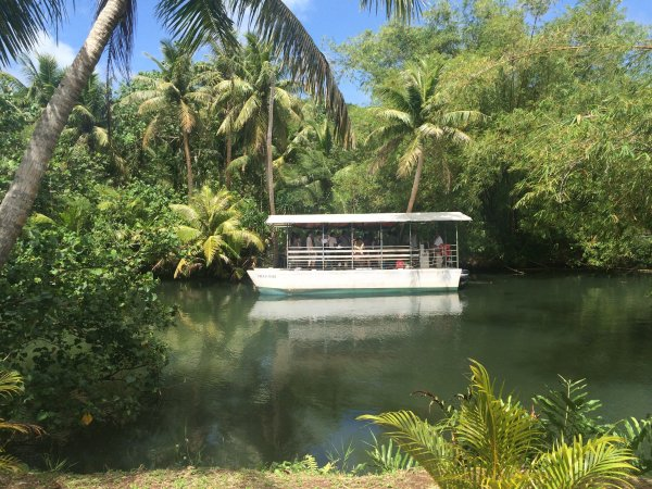 Explore the jungles along the Talofofo & Ugum Rivers while aboard the Adventure River Cruise. Along the way you'll visit a replica of an ancient Chamorro village to experience and see coconut leaf weaving, fire making and Guam's mysterious latte stones.
