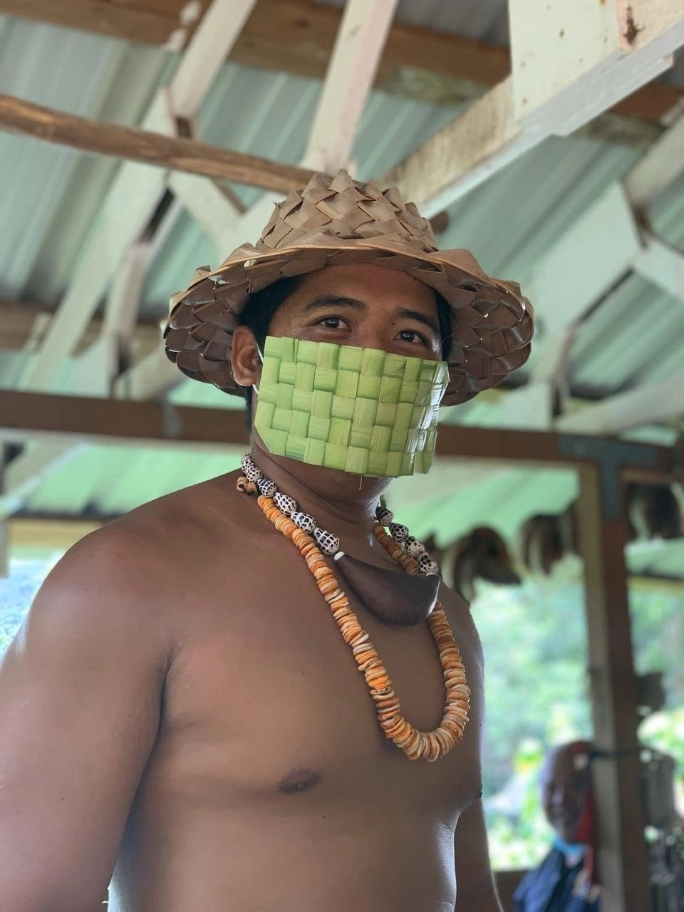 Valley of the Latte Cultural Adventure Tours, Chamorro with Coconut Mask covering a medically approved mask.
