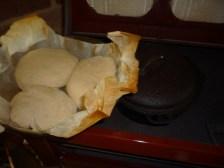 Damper bread on woodstove