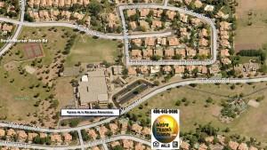 Aerial view of Kyrene de la Mariposa Elementary School, Warner Park, and Hanger Park with Warner Ranch home sales Tempe
