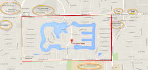 map of The Lakes in Tempe including the surrounding community