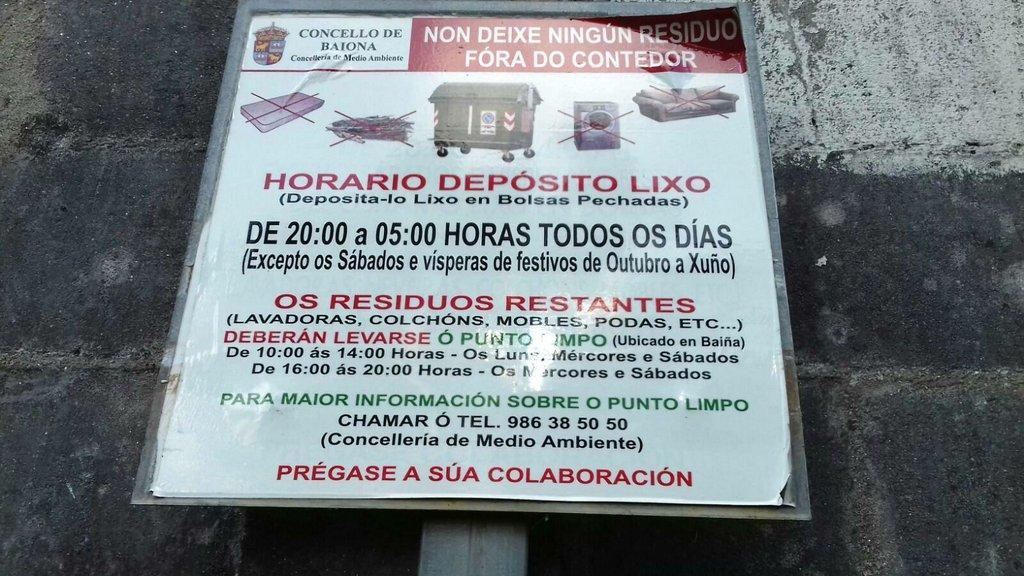 AVISOS DA NORMATIVA DE LIMPEZA E RECOLLIDA DE LIXO DE BAIONA