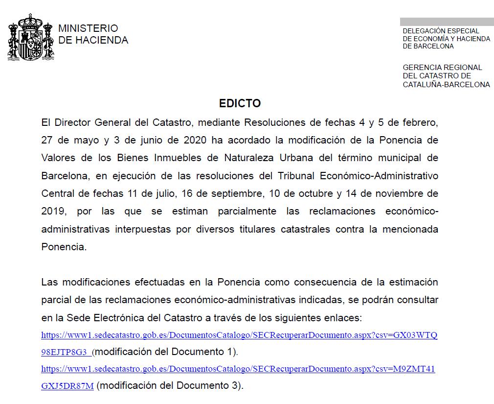 Delegacion Especial de Economía y Hacienda de Barcelona. Edicto