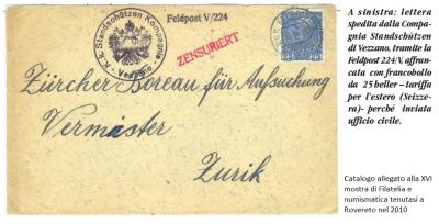 Un esempio di codice Feldpost, timbri e affrancatura di posta proveniente dalle zone di lingua italiana dell'impero asburgico, durante la prima guerra mondiale.