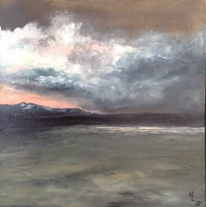 """Dark 'n Stormy Skies 12""""x12"""" Oil Painting Price $200.00"""