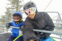 Family day on the slopes before the full force of the storm hit