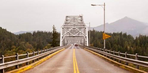 Bridge of the Gods stretching over to Washington