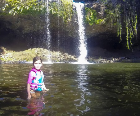 Exploring one of the hinterland waterfalls