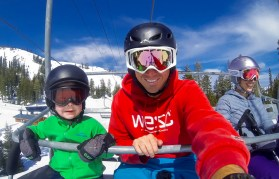 All smiles on the chairlift