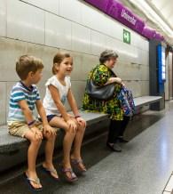 Taking the train to Sagrada Familia
