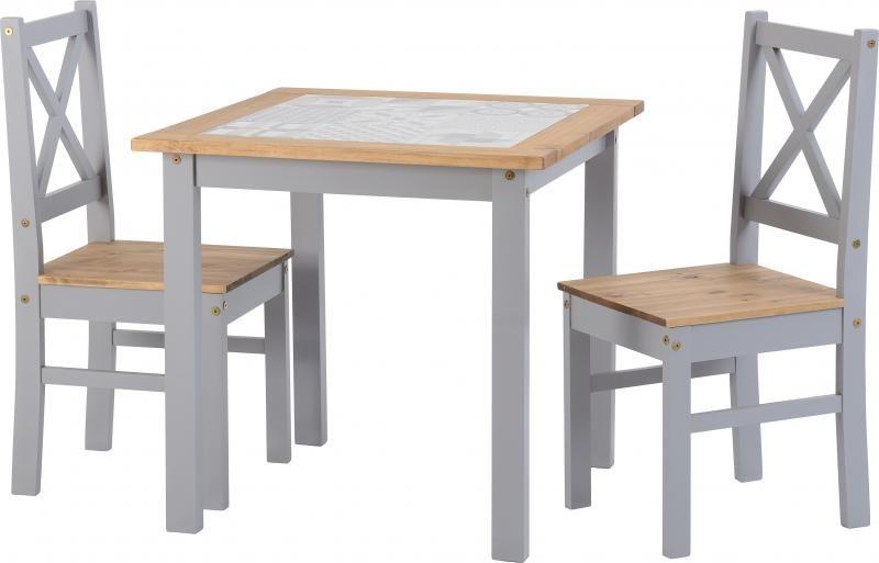 salvador 1 2 tile top dining set slate grey distressed waxed pine