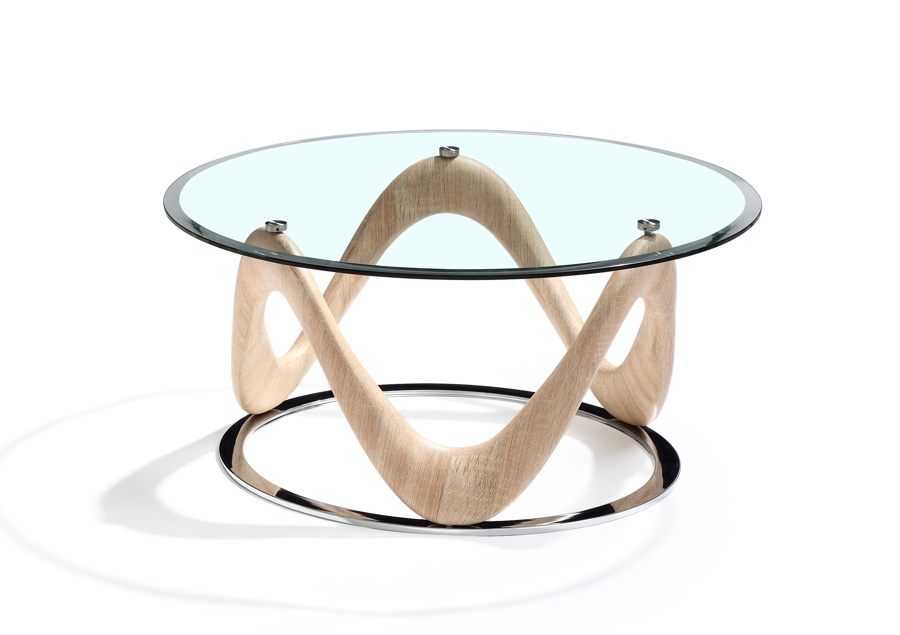 dune collection circular coffee table sonoma oak chrome clear glass