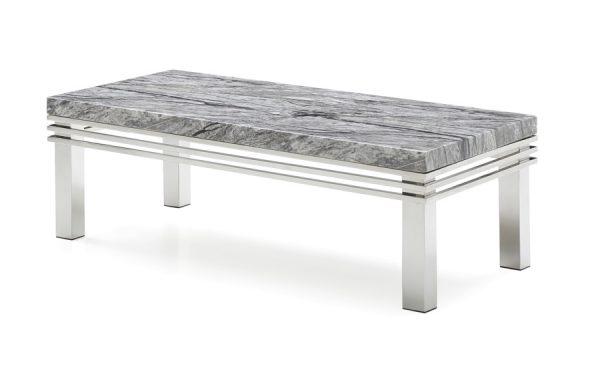 rome collection coffee table grey marble top polished stainless steel