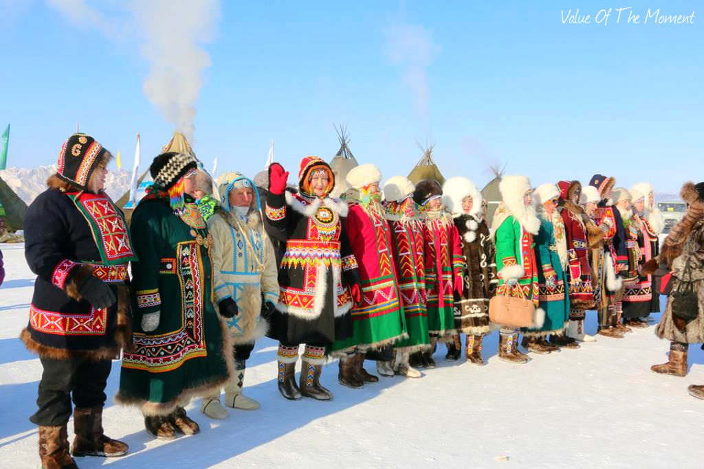 National clothes of Khanty and Nenets people during tour to Reindeer herder festival in Salekhard (Yamal, Russia)