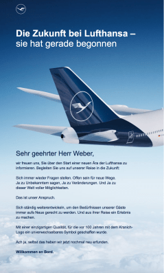 Lufthansa E-Mail vom 8.2.2018 an Andreas Weber