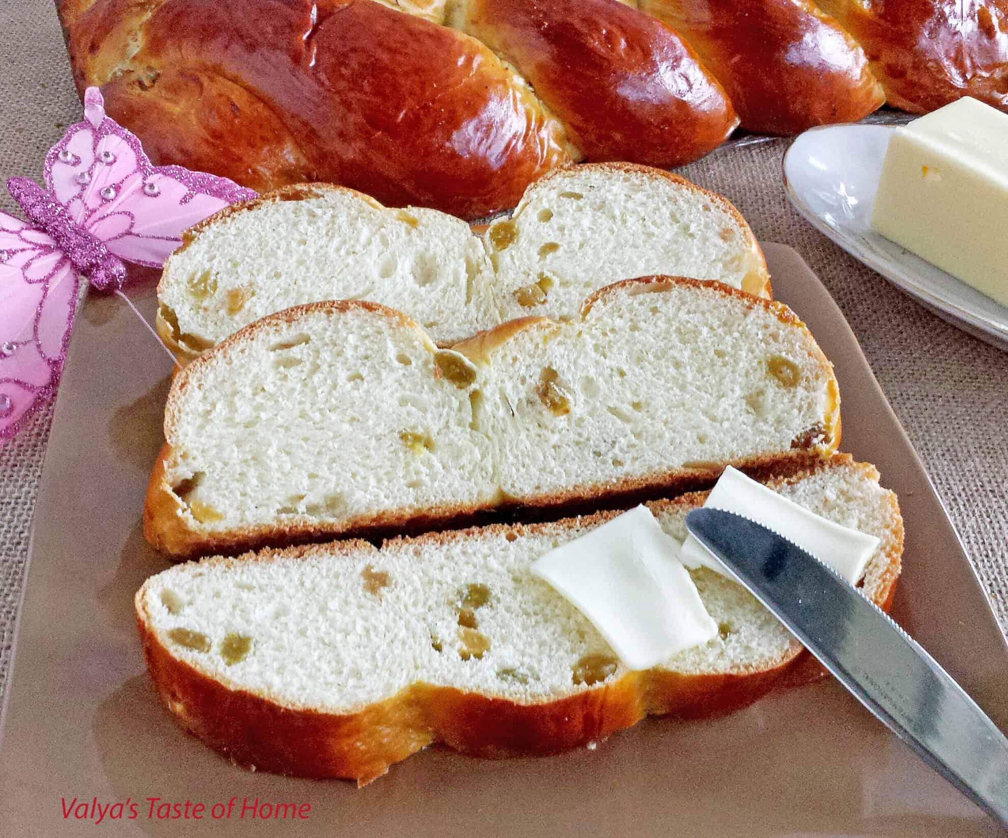 Sweet Braided Easter Bread With Raisins Valya S Taste Of