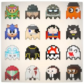 Vamers - Geek Icons as Pacman Ghosts (Block) - Art by Dash Coleman