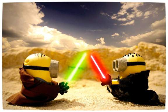 Vamers - Artistry - Fandom - Minion Wars Feel the Force - Star Wars and Despicable Me Mash-Up - Minion Jedi versus Sith by Jeff Quillope