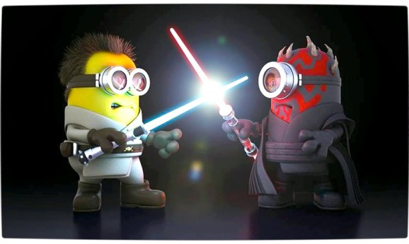 Vamers - Artistry - Fandom - Minion Wars Feel the Force - Star Wars and Despicable Me Mash-Up - Minion Obi Wan versus Darth Maul