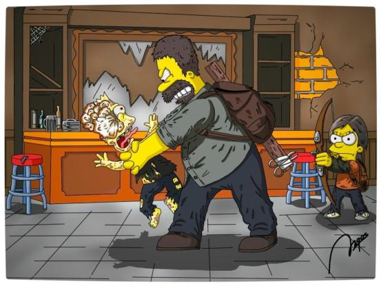 Vamers - Artistry - Gaming - The Last of Springfield - The Last of Us Parody - Homer and Maggie Strangling Bart the Runner