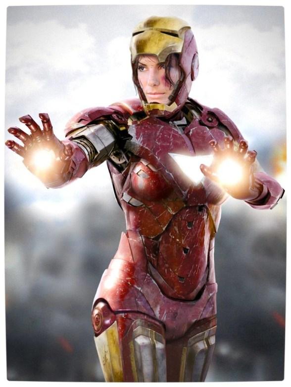 Vamers - Artistry - Female Avengers - See the Superheroes Recast as Women - Sandra Bullock as Iron Maiden