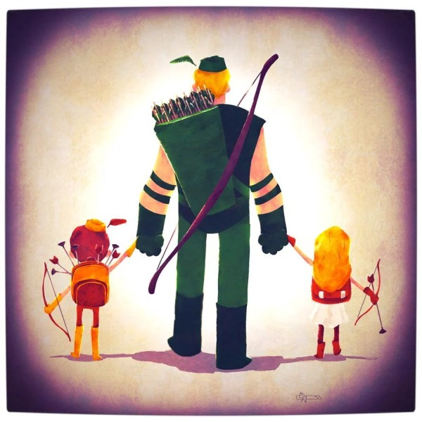 Vamers - Atristry - Marvel and DC Superheroes Walk Their Children to School - Art by Andry Rajoelina - DC - Green Arrow