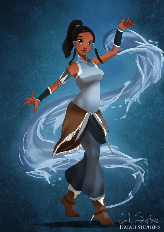Vamers - Artistry - Disney Princesses Dress as Popular Geek Culture Icons for Halloween by Isaiah Stephens - Tiana as Avatar Korra