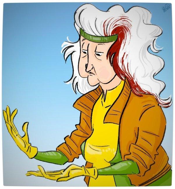Vamers - Geekosphere - Artistry - Old Superheroes - Heroes in in their Golden Years - Art by Lelpel - Rogue