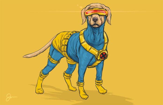 Vamers - Artistry - Fandom - Artist Josh Lynch Imagines Dogs as Superheroes from the Marvel Universe - Cyclops