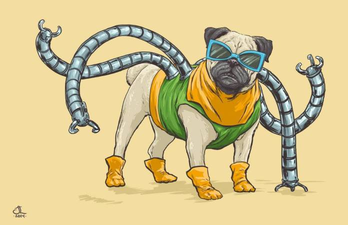 Vamers - Artistry - Fandom - Artist Josh Lynch Imagines Dogs as Superheroes from the Marvel Universe - Doctor Octopus